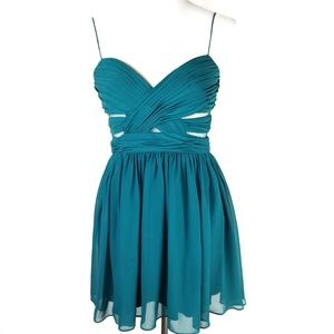 Hailey Logan Teal Short Cutout Prom Party Dress